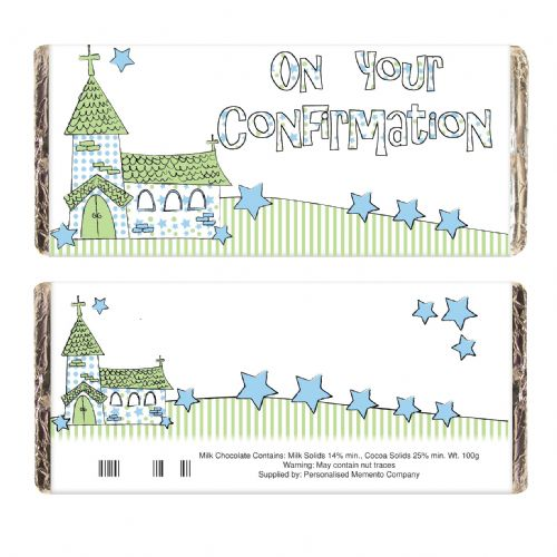 Personalised Blue Confirmation Church Chocolate Bar